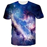 Uideazone Men's 3D Galaxy Nebula Star Cluster Tee Graphic Print T-shirt