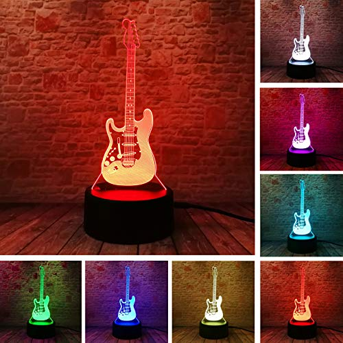 Creative Cartoon 3D Electric Music Guitar Model Illusion Lamp LED 7 Color IR Remote Control Changing Gradient Baby Child Sleeping Night Light -