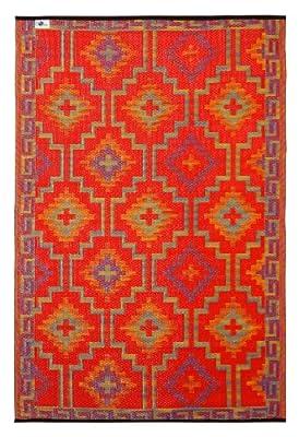 Fab Habitat Lhasa Indoor/Outdoor Rug, Orange and Violet, 8' x 10'