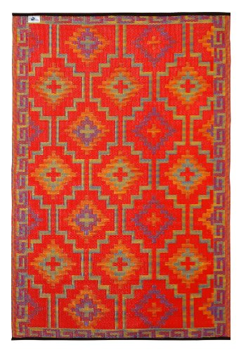 Fab Habitat 5-Feet by 8-Feet Lhasa Indoor/Outdoor Rug, Orange and Violet -