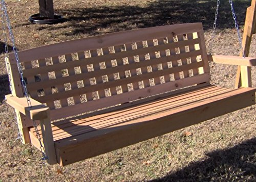 Lattice Cedar Porch Swing with Hanging Rope - 6 Foot Natural