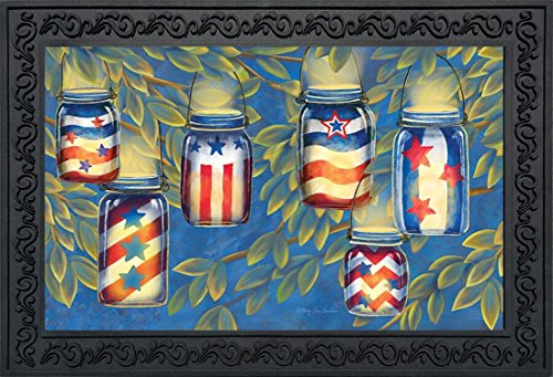 Patriotic Luminaries Summer Doormat Indoor Outdoor Mason Jar Candles 18