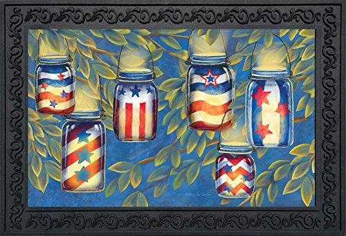 Patriotic Luminaries Summer Doormat Indoor Outdoor Mason Jar Candles 18