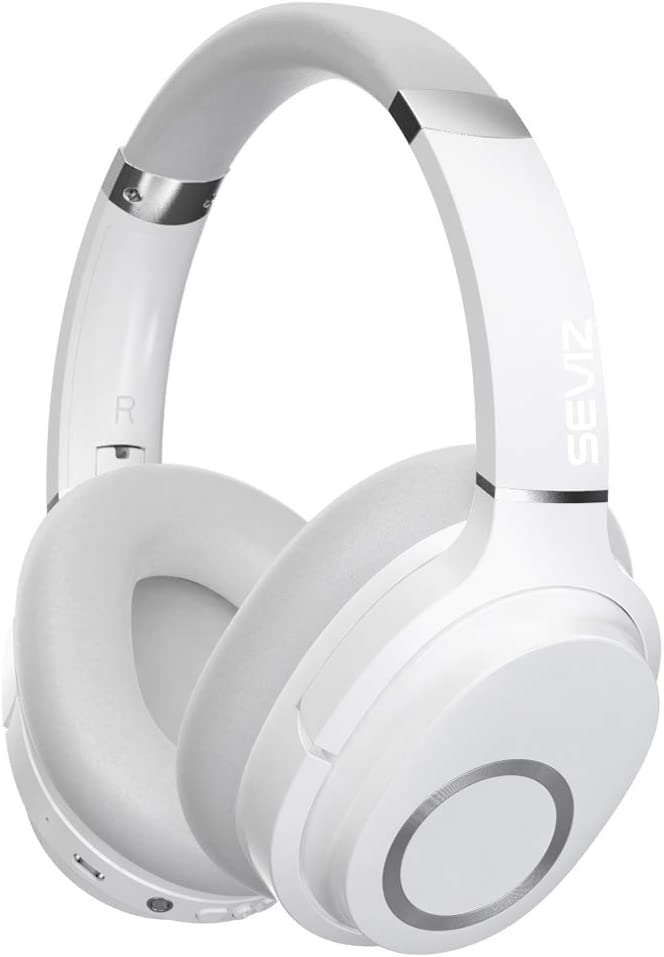 Amazon Com Seviz 11 Wireless Bluetooth Headphones 40 Hours The Best Sound And Powerful Bass Noise Canceling Ear Friendly Earpads Foldable Built In Microphone Stereo Headphones White Home Audio Theater