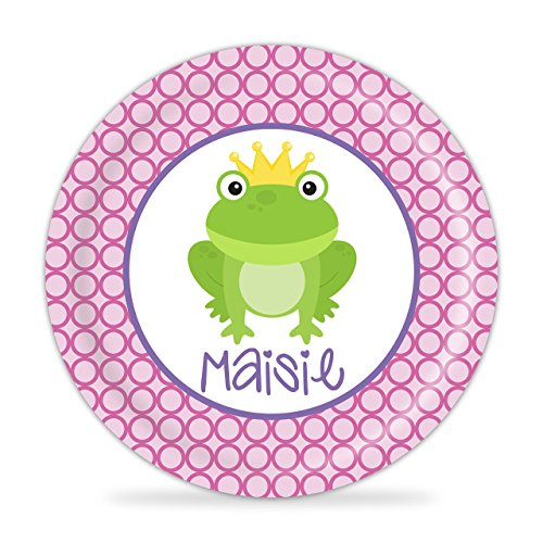 Princess Plate - Green Frog Prince Melamine Personalized (Desk Plates Frogs)