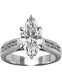 1.33 Cttw 14K White Gold Marquise Cut Classic Channel Set Diamond Engagement Ring with a 1 Carat H-I Color SI2-I1 Clarity Center