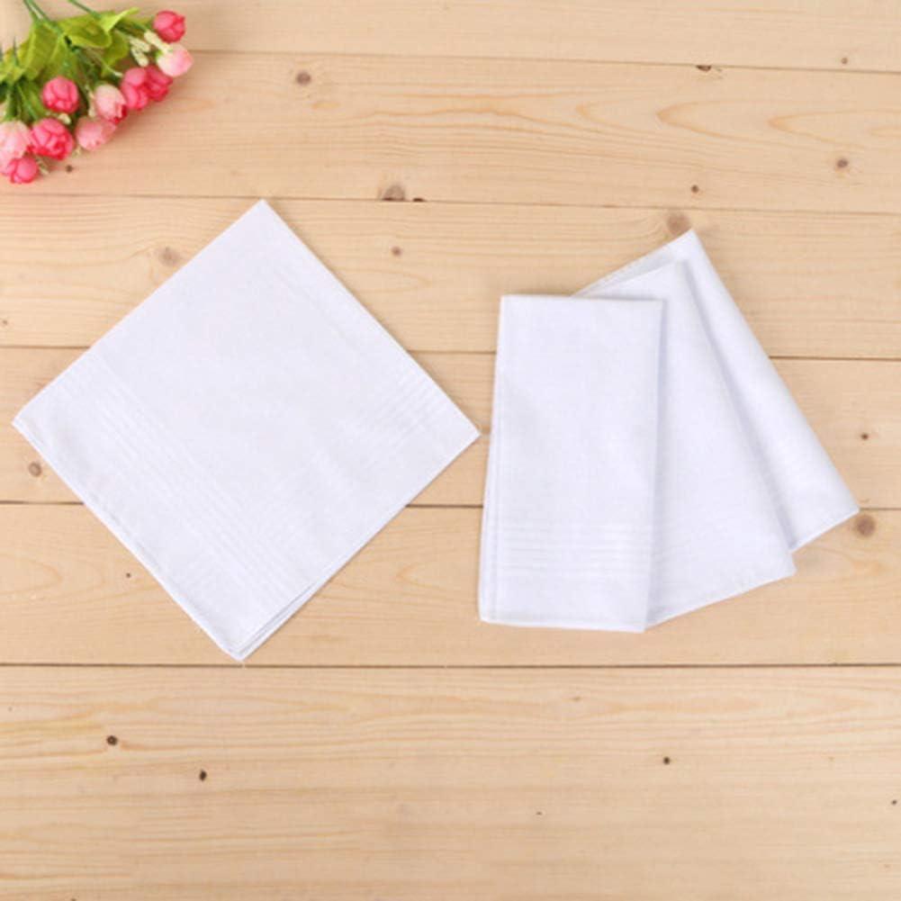 XdiseD9Xsmao 12 St/ücke 40 cm Wei/ß Weiche Langlebige Baumwolle Quadratische Form Taschentuch Schwei/ß Absorbierend Handtuch Party Anzug Taschentuch Wei/ß