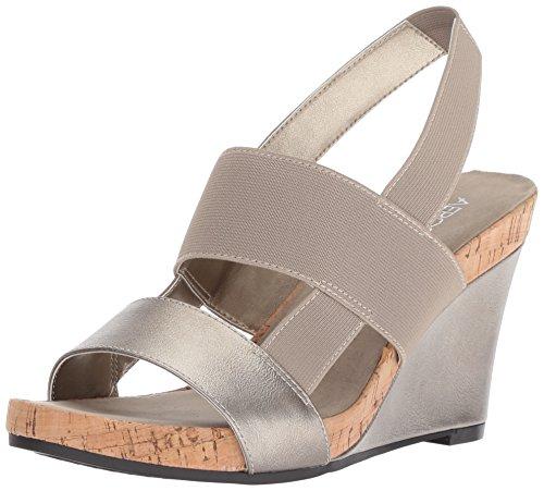 Aerosoles Women's Magnolia Plush Wedge Sandal, Silver, 6 M US