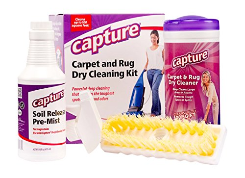 Capture Carpet Dry Cleaning Kit 100 - Resolve Allergens Stain Smell Moisture from Rug Furniture Clothes and Fabric, Mold Pet Stains Odor Smoke and Allergies Too (Best Dry Carpet Cleaner Product)