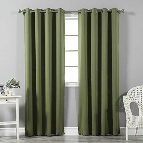 Best Home Fashion Thermal Insulated Blackout Curtains - Stainless Steel Nickel Grommet Top - Olive - 52