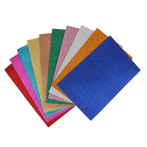 10 Pack Glitter Foam Sheet Sparkles Self Adhesive Sticky 30 X 20cm Back Paper 10-Pack for Children's Craft Activities DIY Cutters Art Assorted Colors (Craft Glue Foamies)