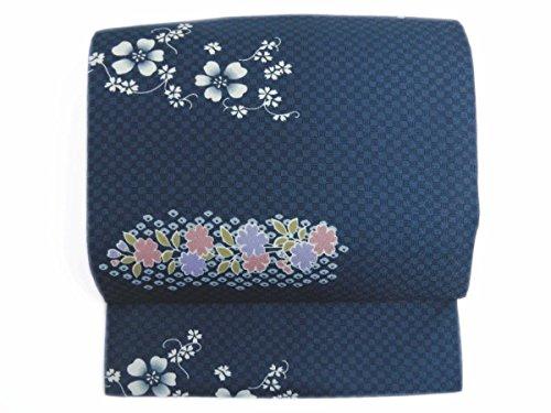 とまり木びっくりおそらく簡単お太鼓結び軽装帯作り帯付け帯紺色市松地桜枝桜 着物に