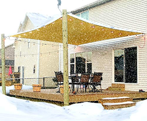 Cover Patio Attached (10' x 13' Sun Shade Sail Canopy, Durable UV Block Awning Cover for Outdoor Patio Deck Garden Lawn Yard Rectangle Sand Yellow)