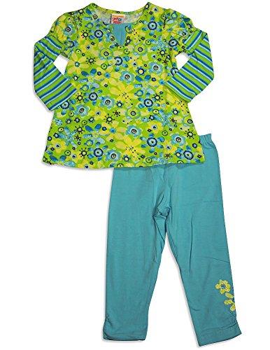 Sweet Potatoes - Little Girls's Long Sleeve Floral Legging Set, Lime, Aqua ()