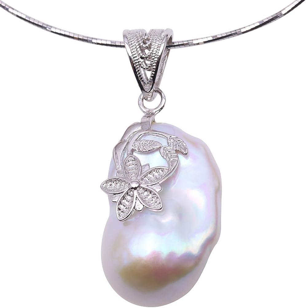 JYX - Colgante de Perla barroca 18,5 x 30 mm, Collar de Perlas Blancas y Plata de Ley