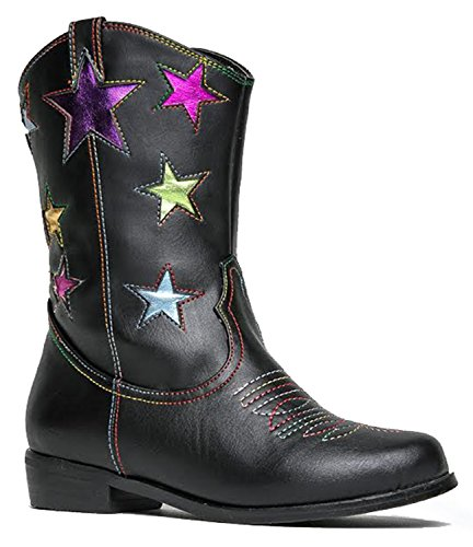 Girls' Metallic Star Western Cowboy Ryder Boots - Vegan Leather - Available in Toddler & Kids Sizes Kids Cowgirl Boots