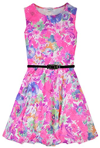 [Girls Sleeveless Tropical Neon Floral Skater Dress Pink 13 Years] (Neon Party Dresses)