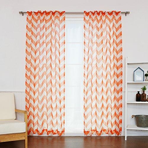 Best Home Fashion Faux Sheer Gauzy Linen Chevron Print Curtains – Rod Pocket – Orange – 52″W x 84″L – (Set of 2 Panels)