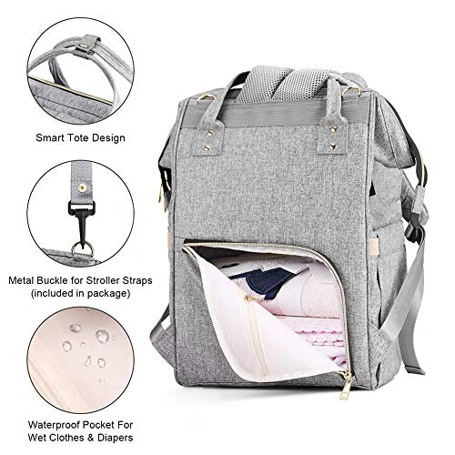 Diaper Bag Backpack, Mokaloo Large Baby Bag, Multi-functional Travel Back Pack, Anti-Water Maternity Nappy Bag Changing Bags with Insulated Pockets Stroller Straps and Built-in USB Charging Port, Gray    Product Description