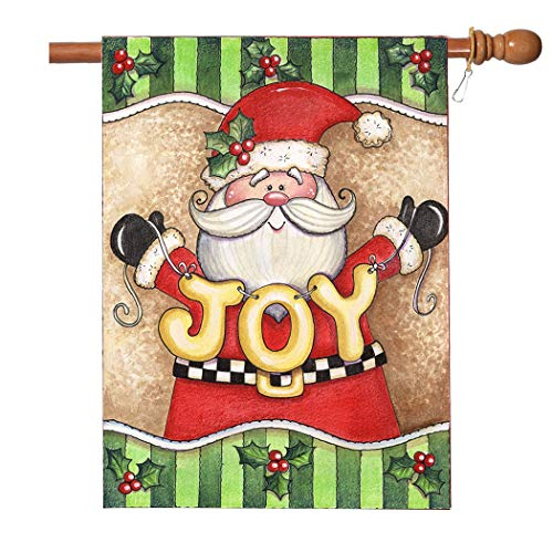 (VIEKEY Christmas Flag 28 x 40 Inches Joy Flag Decorative Winter Christmas Holiday Santa Claus Garden Flag)