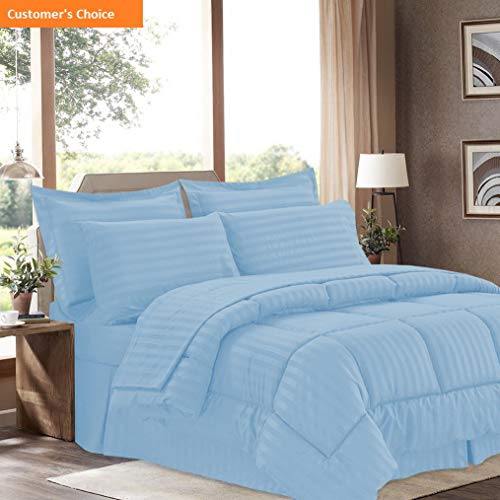 Mikash New Soft 8 Piece Bed in A Bag with Dobby Stripe Comforter, Sheet Set, Bed Skirt, and Sham Set - Queen - Light Blue | Style 84597972 (Queen Mlb Bedskirt)
