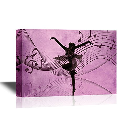 Ballet Dancer on Purple Background with Music Notes