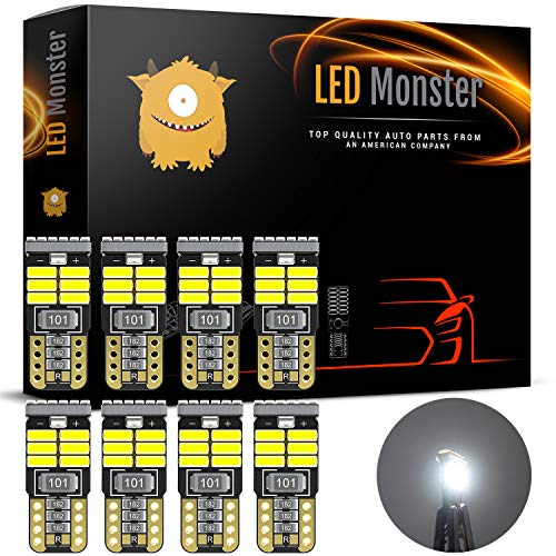 LED Monster 8pcs T10 Wedge Best Value Super Bright High Power 3014 18-SMD 194 168 2825 W5W White LED Bulb Lamp for Car Truck Interior Dome Map Door Courtesy License Plate Lights