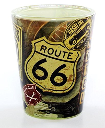 Route 66 Garage Collage Full Wrap Shot Glass rtp