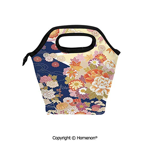 (Insulated Neoprene Soft Lunch Bag Tote Handbag lunchbox,3d prited with Traditional Kimono Motifs Composition Asian Ethnic Floral Patterns Vintage,For School work Office Kids Lunch Box & Food Containe)