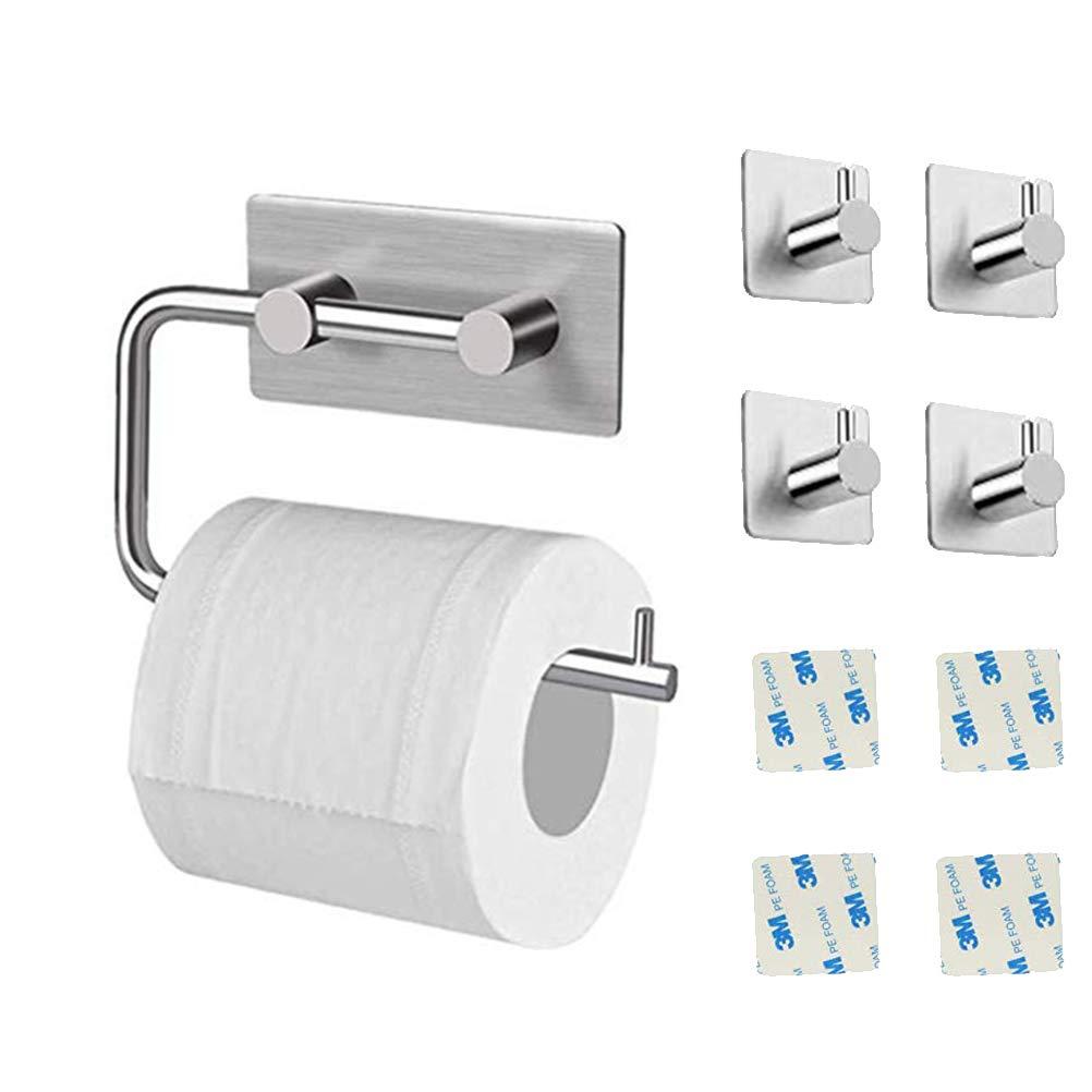 Toilet paper holder + 2 Ganchos 3M Autoadhesivo Acero Inoxidable Pared Monte para Ba/ño Cocina Portarrollos Ba/ño Adhesivo Portarrollos para Papel Higienico Sin Taladro