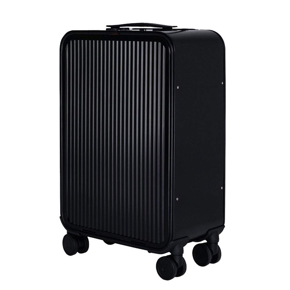 GLJJQMY トロリーケースアルミマグネシウム合金トロリーケースメタルスーツケーススーツケース トロリーケース (Color : Black, Size : 24 inches) B07VC3LK7C Black 24 inches