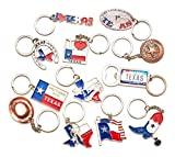 Texas Bundle Souvenir Metal Keychain 12 Pack-Texas Cowboy,Texas Lone Star on Texas State Map, Don't Mess with Texas, I Love Texas, Longhorn, Texas Seal, Texas Bottle Opener, Texas Cowboy Boot & More