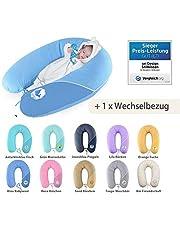 Sei Design Stillkissen Set, Schwangerschaftskissen 190 x 30 cm + 1x extra Stillkissenbezug, Jeansblau-Pinguin Pünktchen