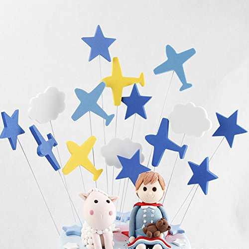 (jiahai 30 Pcs Blue Airplanes White Cloud Cake Cupcake Toppers for Baby Shower Birthday Party Favors)
