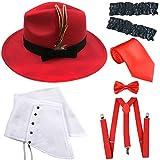 ZeroShop 1920s Trilby Manhattan Gangster Fedora Hat, Gangster Spats,Garters Armbands,Suspenders Y-Back Elastic Trouser Braces,Pre Tied Bow Tie,Gangster Tie (OneSize, Red)