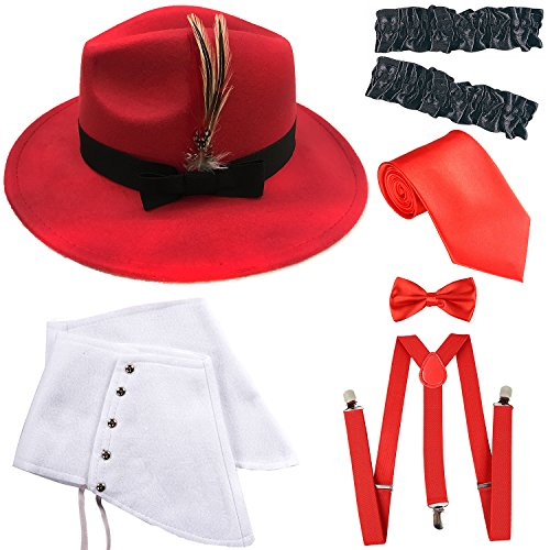 1920s Trilby Manhattan Gangster Fedora Hat, Gangster Spats,Garters Armbands,Suspenders Y-Back Elastic Trouser Braces,Pre Tied Bow Tie,Gangster Tie (OneSize, Red)