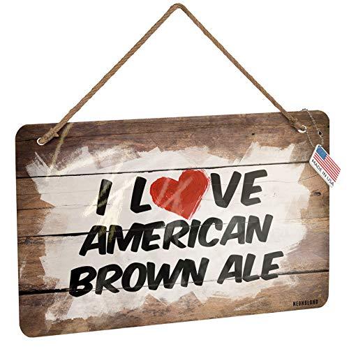 NEONBLOND Metal Sign I Love American Brown Ale Beer Christmas Wood Print
