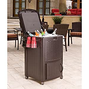 Rolling Party Cooler,Outdoor Cooler,Resin Wicker Rolling Cooler,Outdoor Beverage Cooler Cart,Patio Cooler,Rolling Beverage Cooler,Portable Cooler On Wheels & EBOOK AWESOME HOME DECOR IDEAS.
