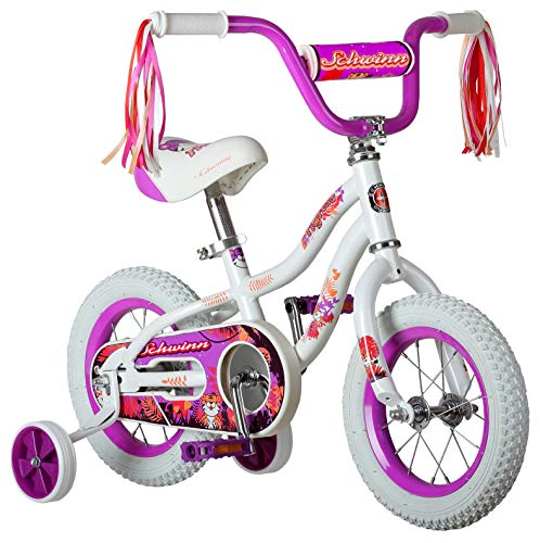 - Schwinn Tigress Girl's Bicycle with Training Wheels, 12-Inch Wheels, White