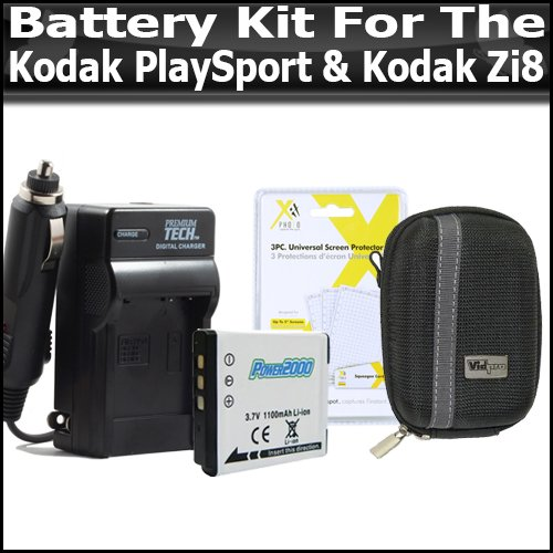 (Battery And Charger Kit For Kodak PlaySport (Zx3) Kodak Zi8, Kodak PlayFull Dual (Zi12) Pocket Video Camera NEWEST MODEL Includes Extended Replacement KLIC-7004 (1100 mAH) Battery + Ac/Dc Rapid Travel Battery Charger + Deluxe Hard Case + Screen Protectors)