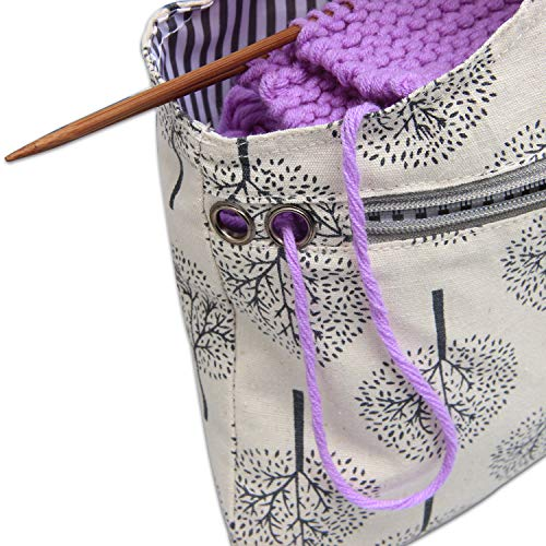 Teamoy Knitting Tote Bag, Travel Canvas Project Wrist Bag for Knitting Needles(14inches), Yarn and Crochet Supplies, Lightweight, Perfect Size for Knitting on The Go (Large, Tree) by Teamoy (Image #6)