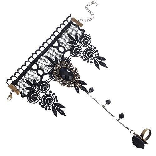 [Areke Women Gothic Lolita Retro Lace Slave Bracelet With Ring Wedding Wristband Flower Black Color] (Tween Girl Halloween Costume Ideas 2016)