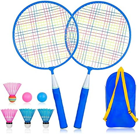 Ksera Badminton Rackets for Children Set of 2, Durable Professional Badminton Set for Children Indoor and Outdoor Sport Game with 4 Badminton and 2 Table Tennis