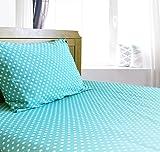 Baby : Crib / Toddler Bed Sheet and Pillowcase Set (Turquoise Polka Dot) 100% Premium Cotton by Dreamtown Kids