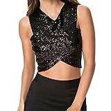Women Sexy Sequin Vests Cross Crop Sleeveless Party Club Tanks Shine Top Vest