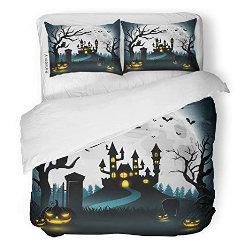 Tarolo Bedding Duvet Cover Set Blue Fence of Halloween Castle and Scary Pumpkins Graveyard Haunted House 3 Piece Twin 68