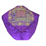 NovaHaat Purple Floor Seating Pouf Cover - Gold Zari Embroidery Large Traditional Indian Ethnic Ottoman with Fine Parsi and Kashmiri Work - 18in L x 18in W x 18in H