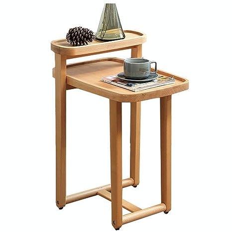 Amazon.com: Mesa auxiliar de madera maciza, mesa de esquina ...