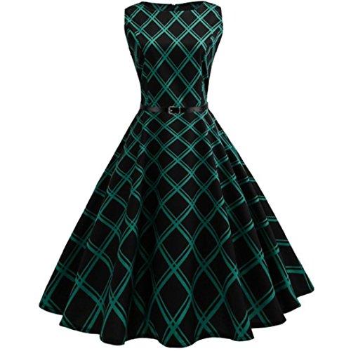 Lattice Belt - Sexy Dress SmdoxiBoatNeck Sleeveless Vintage Tea Dress with Belt Lattice Casual Evening Party Prom Swing Dress (XL)