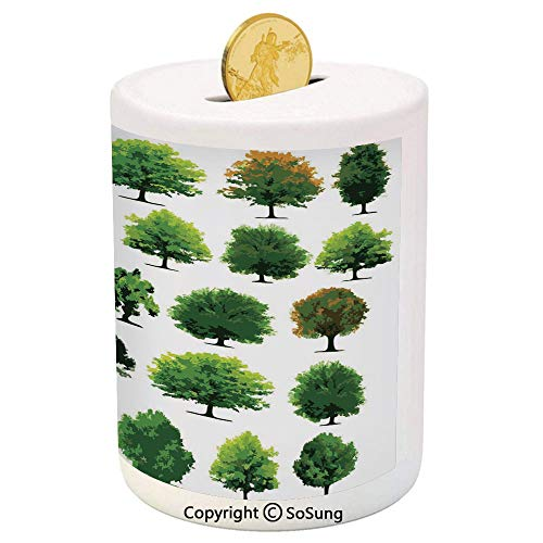 SoSung Nature Ceramic Piggy Bank,Mother Nature Gift Different Types of Trees and Pines Planes Bushes Art Print 3D Printed Ceramic Coin Bank Money Box for Kids & Adults,White and Green